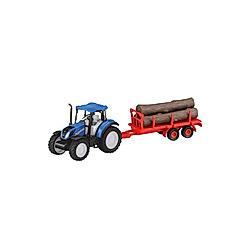 Jamara New Holland Traktor Anhänger + Baumstämme Set 1:32