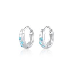 Elli Paar Creolen Kinder Creole Swarovski® Kristalle Blau 925 Silber, Creole