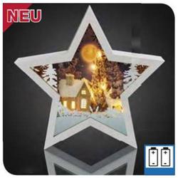 LED-Tischdeko Stern 3D ws battb.