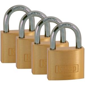 Kasp Vorhängeschloss, Messing 4-er Pack, 40 mm, gleichschließend Serie 120, gold, K12040D4, 170 x 170 mm