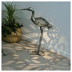etc-shop LED Dekofigur, Gartendeko Figuren LED Figuren für Garten Gartendeko Tiere für Außen Balkon Figuren Terrasse Deko, Kranich Metall, grau, LxH 29 x 77 cm
