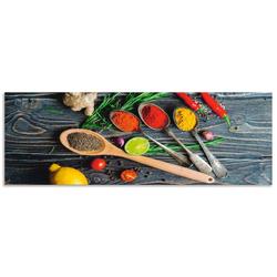 Artland Küchenrückwand Gewürze in Metalllöffeln, (1-tlg) 160 cm x 55 cm x 0,3 cm
