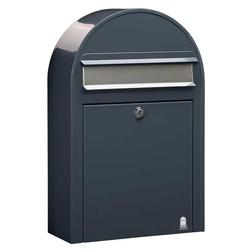 Bobi Briefkasten Bobi Classic S Briefkasten RAL 7016 grau Klappe aus Edelstahl Wandbriefkasten
