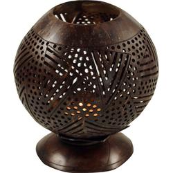Guru-Shop Windlicht Dekoleuchte aus gravierter Kokosnuß - Modell 2
