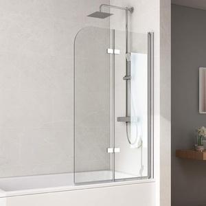 Bath-mann 100x140cm Duschabtrennung Badewannenaufsatz Badewannenfaltwand 6mm Duschwand Badewanne mit Beidseitiger Nanobeschichtung Glas