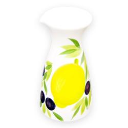 Lashuma Karaffe Zitrone Olive, Keramikkaraffe italienisch, Wasserkaraffe handbemalt 600 ml - Ø 10 cm x 19 cm