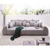 DeLife DELIFE Big-Sofa Violetta, Grau 310x135 cm abgesteppt inklusive 12 Kissen Big-Sofa grau