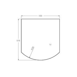 Bodenplatte aus Sicherheitsglas 6 mm - 1.076 x 1.000 mm mit Facette 18 mm für Kaminofen