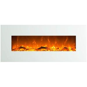GLOW FIRE Elektrokamin mit Heizung, Wandkamin mit LED | Künstliches Feuer mit zuschaltbarem Heizlüfter: 750/1500 W | Fernbedienung (Größe L - 126 cm, Weiß)