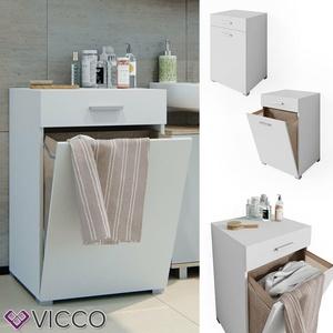 Wäschekorb Waschmaschinenschrank Badschrank Wäscheschrank Matteo Weiß