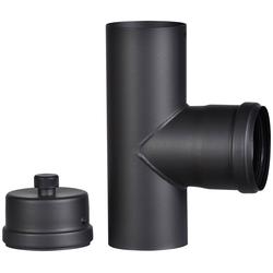 FIREFIX Anschlussstück für 80 mm Pelletofenrohr schwarz