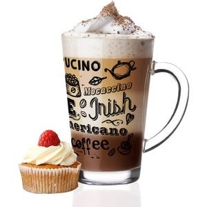 Sendez 6 Latte Macchiato Gläser 300ml und 6 Edelstahl-Löffeln (gratis) Kaffee-Aufdruck