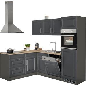 HELD MÖBEL Winkelküche Stockholm, ohne E-Geräte, Stellbreite 230/170 cm, mit hochwertigen MDF Fronten im Landhaus-Stil grau L-Küchen Küchenzeilen -blöcke Küchenmöbel
