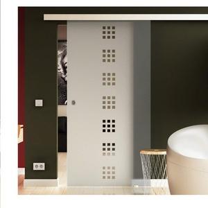 Made in Germany SoftClose Schiebetür aus Glas 775x2050 mm  Quadrat-Design (Q) Levidor® EasySlide-System komplett Laufschiene und Muschelgriffen für Innenbereich  ESG-Sicherheitsglas