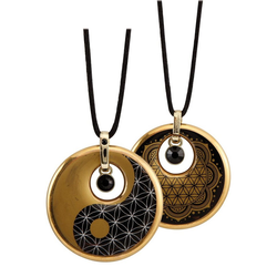 Goebel Kette mit Anhänger Lotus, Ying Yang, 23120231, mit Kristallen