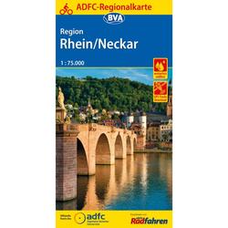 ADFC-REGIONALKARTE REGION RHEIN/NECKAR - 6. Auflage 2017 - Fahrradkarten
