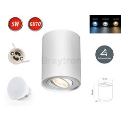 Braytron LED Deckenleuchte Deckenleuchte GAMA-SR Aufbaustrahler Lampe Aufputz Leuchte Ø96mm Strahler Schwenkbar 45° Rund Weiß aus Aluminium