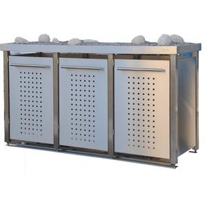 Mülltonnenbox aus Edelstahl mit Edelstahlpfosten, aufgebaut (3X 120l mit Pflanzwanne und F-Design)