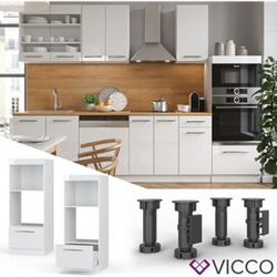 VICCO Mikrowellenumbauschrank 60 cm Weiß Küchenzeile Unterschrank Fame
