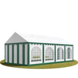 Toolport Partyzelt 3x8m PVC 500 g/m² grün wasserdicht Gartenzelt, Festzelt, Pavillon