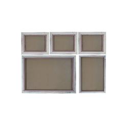 MCW Bilderrahmen Bilderrahmen Set H247, (Set), Für Quer- und Hochformat, Mit 2 mm Glasplatte, Mit Seidenband weiß