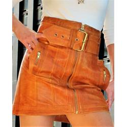A-Style Lederrock in ECHT-Leder mit breitem Gürtel in cognac