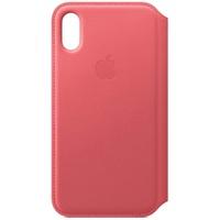 Apple iPhone XS Leder Folio Case pfingstrosenpink