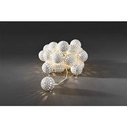 LED-Dekokette weiße Metallbälle 24 flg. warmweiß 3156-103