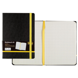 Idena Notizbuch Notizbuch DIN A5 - 192 karierte Seiten - Hardcover schwarz - FSC® Mix