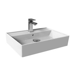 Aqua Bagno Aufsatzwaschbecken Keramik Waschbecken 60cm Plan Waschtisch mit Hahnl