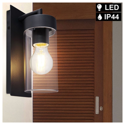 etc-shop LED Laterne, Außen Wand Leuchte Balkon ALU Grundstück Beleuchtung Laterne im Set inkl. LED Leuchtmittel