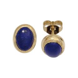 JOBO Paar Ohrstecker, oval 585 Gold mit Lapislazuli
