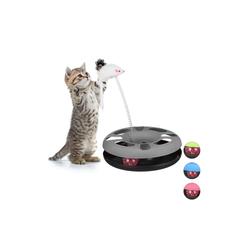 relaxdays Tier-Kugelbahn Katzenspielzeug mit Maus, Kunststoff grau