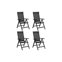 ebuy24 Gartenstuhl Kenny 4 x Gartenstuhl, justierbarer Rücken, 6 Posi