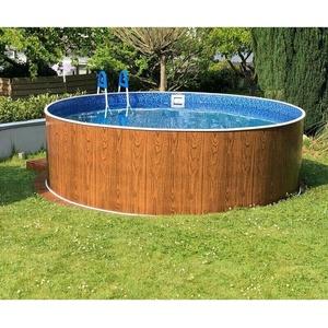Rundpool Holzoptik 4.60 x 1.10 - Folie Marmor mit Skimmer und Düse Swimmingpool