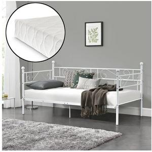 en.casa Metallbett, Granada - Tagesbett Kaltschaummatratze - 90x200cm - in verschiedenen Farben weiß
