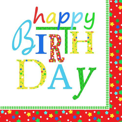 Motivservietten 3-lagig 33x33 cm Geburtstagsservietten 'Happy Birthday' 20 Stk.