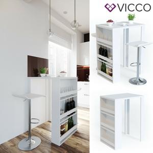 VICCO Bartisch Bartresen Stehtisch Tisch Tresentisch Bistrotisch Küche Weiß