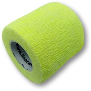 LisaCare Kohäsive Bandage 4er-Set - selbsthaftend, elastisch, 5cm breit für Mensch & Tier - Fixierbinde für Sport Arbeit Reiten - Neongelb
