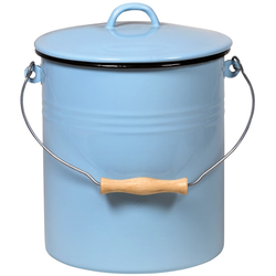 Krüger Mülleimer, Metallbügel mit Holzgriff blau Mülleimer Küchenhelfer Haushaltswaren