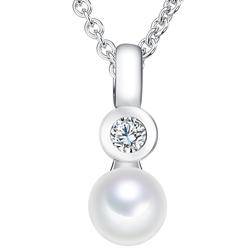 Valero Pearls Halskette  Sterling Silber Zirkonia Süßwasser-Zuchtperle  silber Valero Pearls Perlenhalskette