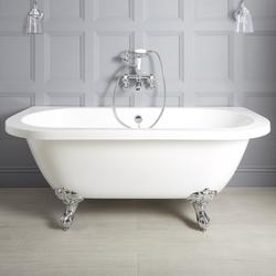Retro Vorwand Badewanne zum Anlehnen an die Wand 155cm, Auswahl an Füßen