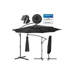 Arebos Sonnenschirm Luxus Ampelschirm Gartenschirm mit LED Beleuchtung Ø3m Wasserabweisend, Set, ohne Wegeplatten grau