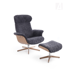 CONFORM Relaxsessel TIMEOUT mit Holz/Alu-Fuß, Schaffell CHARCOAL