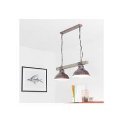 Licht-Erlebnisse Pendelleuchte HAKON Landhaus Pendelleuchte Echt Holz Kupfer Antik Küche Lampe