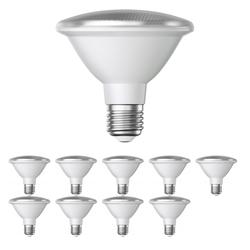 E27 PAR30 LED Reflektor-Leuchtmittel 12W 1300lm weiß A+ für innen und außen mit kurzem Hals, 10 Stk.
