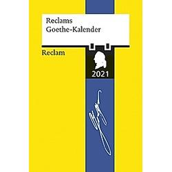 Reclams Goethe-Kalender 2021 - Buch