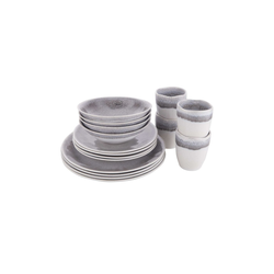 BUTLERS Single Geschirr-Set ATLANTIS Geschirr-Set 16-tlg., 16-teiliges Geschirr-Set in Blau - Geschirr aus Steinzeug - Set bestehend aus 4x Tasse, Schale, Frühstücksteller, Dinnerteller grau