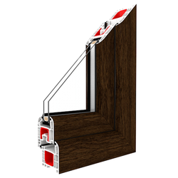 Kunststofffenster Dreh (ohne Kipp) Fenster Eiche Dunkel