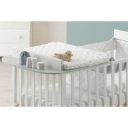 Blau Design Weiß Wickeltisch + Weiß / Grau Baby Space Matratze